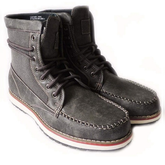 MILITARY COMBAT STYLE ANKLE BOOTS LEATHER LINED SH